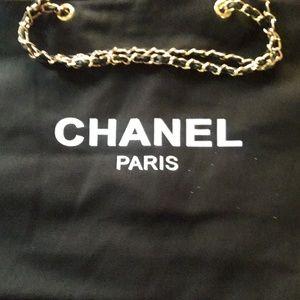Authentic Chanel VIP Canvas Tote, Gold Chain